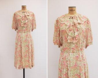 1970s Dress - Vintage 70s Floral Silk Chiffon Dress - Analía Dress
