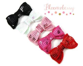"1.40"" MINI Sequin Bow Appliques -5 Colors Available - Your Choose Color - Mini Sequin Bows - AppliquesHair AccessoriesSupplies"