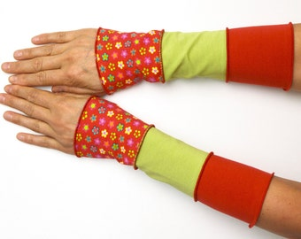 Mittens Arm Warmers 3 colours Wrist Warmers patchwork cotton flower red green