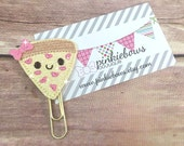Pink/Gold/Love Pizza/Sparkle Applique Paper Clip/Planner Clip/Journal Marker/Bookmark