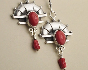 Deco Earrings, Art Deco Earrings, Sterling Silver and Coral Earrings, Gatsby Style Earrings, Silver and Gemstone Earrings, Coral and Silver