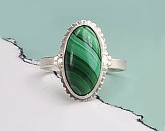 Malachite Silver Ring, Sterling Silver and Malachite Ring, Genuine Malachite Ring, Green Ring, Malachite Jewelry, Natural Striped Malachite