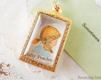 Meet Polly Peachum / upcycled necklace / vintage upcycled jewelry / repurposed necklace / repurposed jewelry / collage necklace / assemblage