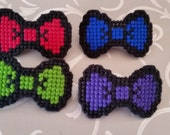 Cross Stitched Bow Tie Hair Barrette