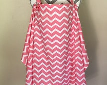 Nursing Cover - coral chevron print nursing cover with a fabric flower clippie - Ready to ship