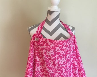 Sale Nursing Cover - hot pink scroll breastfeeding  cover hooter hider with a fabric flower clippie - Ready to ship