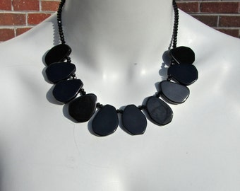 CLEARANCE, Reduced 40%, Black Onyx Statement Necklace, Chunky Slab Nuggets, Slice Necklace, Natural Stone, Black Crystal, Bib Necklace  087