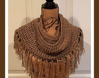 Glamour Infinity Crochet Scarf with Fringe©