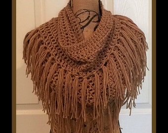 Soft Taupe Infinity Crochet Scarf with Fringe©