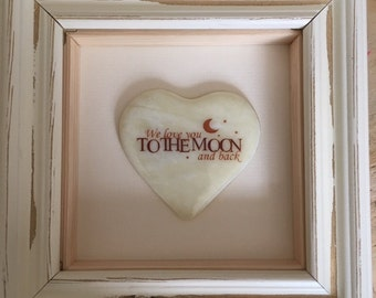 "3D Shabby Chic Frame with Fused Glass Heart ""I Love you to the Moon and Back"" Or ""We"""