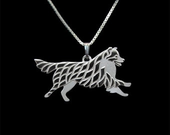 Leaping Australian Shepherd (with a tail) - sterling silver pendant and necklace.