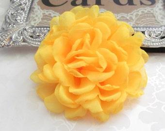 Yellow Chiffon Fabric Flower / 4 inch wide Hair Flower NO CLIPS /  FLW-06