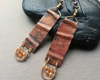 Rustic Copper Dangle Earrings, Mystic Quarz Gemstone Beads, Mixed Metal, Brass And Copper, Niobium Ear Wires, Handforged Metal, Wire Wrapped