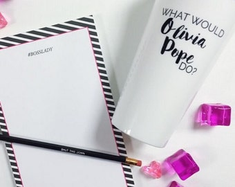 Boss Lady Notepad | Girl Boss - Lady Boss - Black and Pink Notepad - Preppy