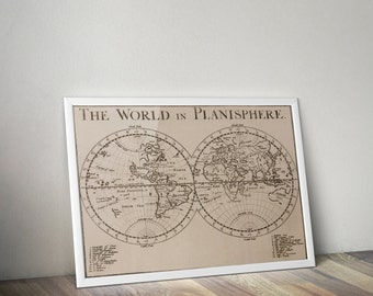 The World in Planisphere // Vintage 1681 World Atlas Reproduction // High-quality Cartography Print For Office or Home Decor