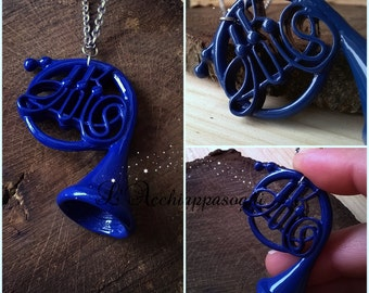 HIMYM - Blue French Horn necklace - How I Met Your Mother INSPIRED - Enamel charm - Blue French Horn - stainless steel chain