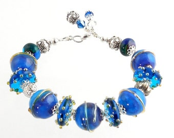 Blue and Sterling Silver Beaded Crystal Lampwork Bracelet, Lampwork Jewelry, Gifts, Fashion Jewelry, Fashion Accessories, Career Wear