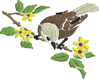 Bird 16 Digitized Machine Embroidery Design Wren on a branch of flowers