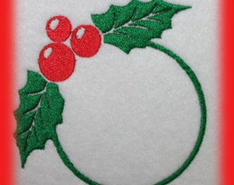 Holly Monogram Machine Embroidery File ONLY