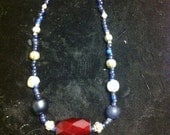 Very Rare Russian Red Bead, Antique silver, Cobalt, and Sterling Silver Clasp Bead Necklace
