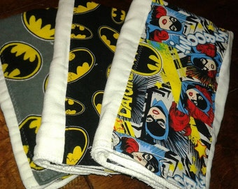 Batman batgirl baby burp cloth Batman baby toy teether premium diaper six ply manly husband friendly superhero baby gift nerd baby gift geek