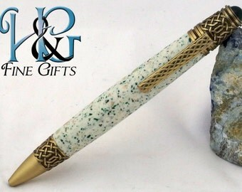 Glow in the dark handcrafted pen in brushed brass Celtic setting, speckled green acrylic glows in the dark, Celtic brass with green cabochon