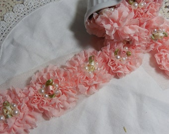 """6 Peachy Pink Shabby Chic Pearl and Flower Rosettes 2.5"""""""