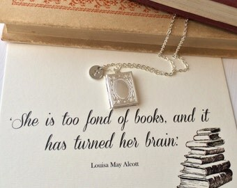Book Lover Locket - Personalised with letter charm - Too fond of books quote - Literature Jewelry - Book Necklace - Silver Locket - Literary
