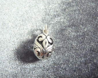 Sterling Silver 3D Cutout Egg Charm C2