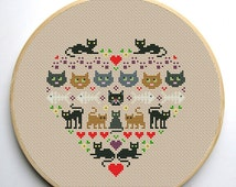 Heart and Cats cross stitch pattern Instant Download PDF