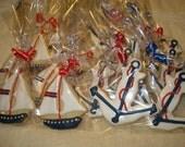 Nautical Anchor, Lighthouse, Lifesaver Decorated Sugar Cookies for Wedding, Shower, Birthday - 1 Dozen