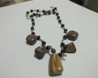 Wood and Jasper Necklace