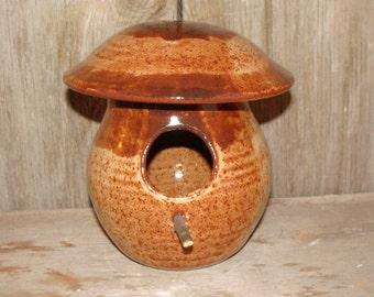 Handmade Rustic Brown Pottery Birdhouse