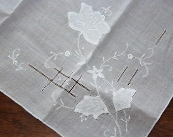 White Cotton & White Embroidered Lily Flower Corner Large Vintage Handkerchief - Wedding