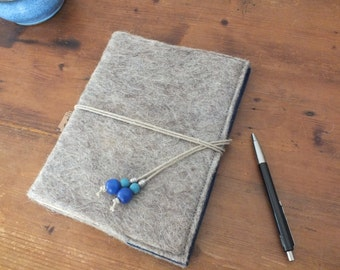 Colorful grey wet felted big A5 Notebook in blue with cord and beads