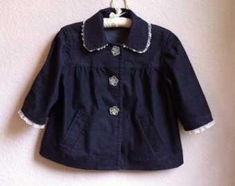 Dark jean pea coat with lace and rose buttons
