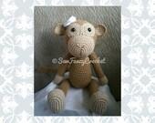 Julie, Monkey, Crochet Monkey, Safari Animal, Stuffed Monkey, Stuffed Animal, Monkey Nursery Decor, Safari Decor, Safari Nursery, Crochet