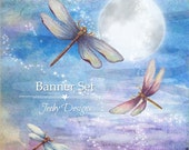 Etsy Banner Set - Dragonflies - Etsy Banners - Moon  - Etsy Shop Banners - Stars - Blue - Full Moon