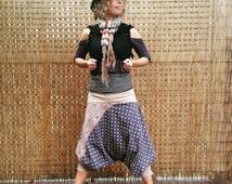 Bohemian Aladdin pants/ gypsy wear/ upcycled fabric/ festival/ indie-boho clothing. Size 14.