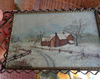 Antique small painting on cigar box with elaborate hand made hanging metal frame