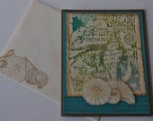 Hand stamped all-occasion card, Seashell Symphony