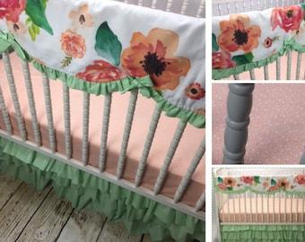 Peach and Mint Floral Girl Crib Bedding Set, Modern, shower gift,crib skirt girl, mint crib skirt,teething guard,