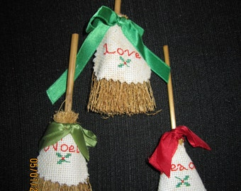 Peace, Love and Noel Miniature Straw Broom Christmas Tree Ornaments (Set of 3)