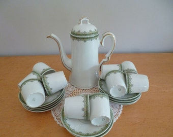 Vintage Limoges Demitasse Coffee Set c1900's