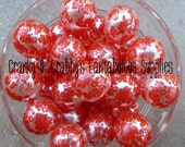 20mm Red Damask Print on White Pearl Beads  -  Chunky Necklaces - Set of 10 - Red on white