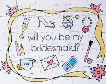 SALE  Will you be in my Wedding? Will you be my Bridesmaid, Maid of Honor, Flower Girl?  Set of 6 Puzzles 8x10 inches. Bridesmaid invitation
