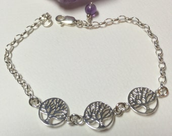 Sterling silver tree of life and amethyst bracelet