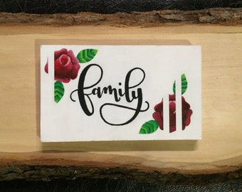 Handpainted Wooden Sign, Family