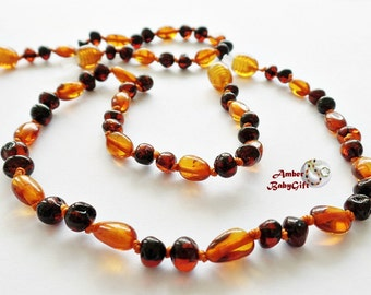 """SET of Amber Baby Teething Necklace 12.5""""-13.0""""and Bracelet / Anklet 5.9""""- Genuine Amber - Multicolour Amber Beads - Screw clasp, 8R"""