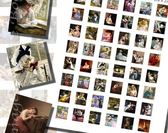Paintings of Books and Reading Printables Part 1, SCRABBLE TILE SIZE (.75 x .83 Inches or 19 x 21 mm), 48 Paintings Included